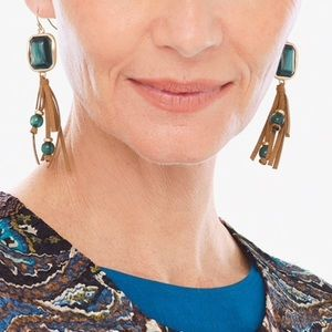 NEW Earrings Hanging Fringe Teal Gold Jewelry